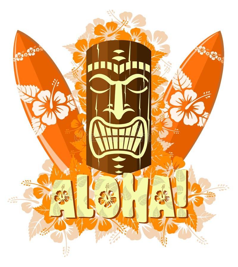 Illustration de vecteur de masque orange de tiki illustration libre de droits