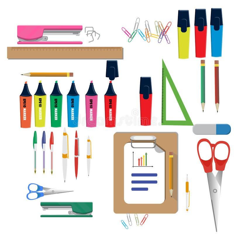 Illustration de vecteur de nouveau à des fournitures scolaires Approvisionnements d'école illustration stock