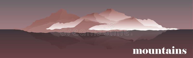Illustration de vecteur de panorama des arêtes de montagne Alpinisme et illustration de déplacement de vecteur Paysage avec illustration libre de droits