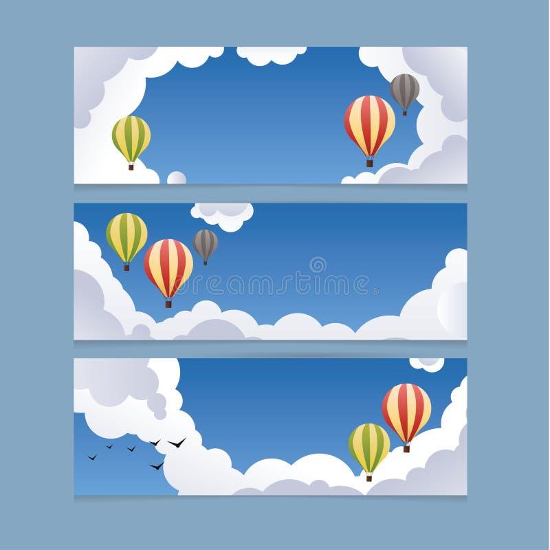 Illustration de vecteur de paysage. Nettoyez le ciel bleu avec des baloons. illustration de vecteur