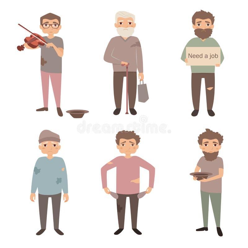 Illustration de vecteur de personnes sans abri illustration libre de droits