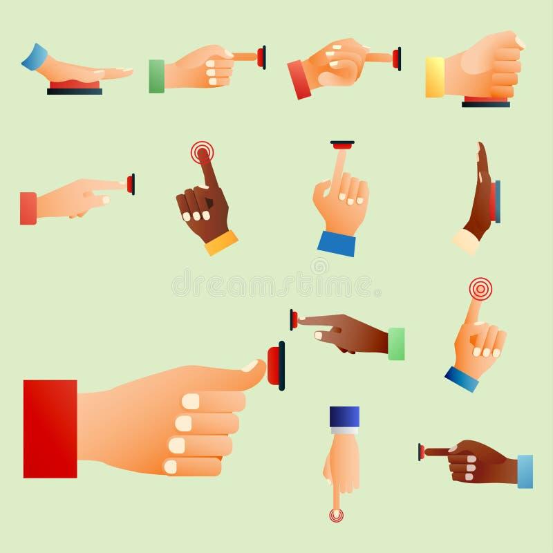 Illustration de vecteur de pièce de corps humain de geste d'indicateur de poussée de contrôle de presse de doigt de bouton rouge  illustration libre de droits
