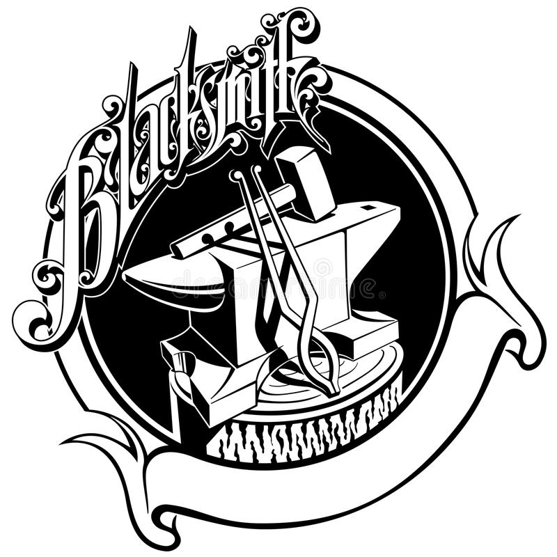 Illustration de vecteur de pinces de marteau d'enclume illustration libre de droits