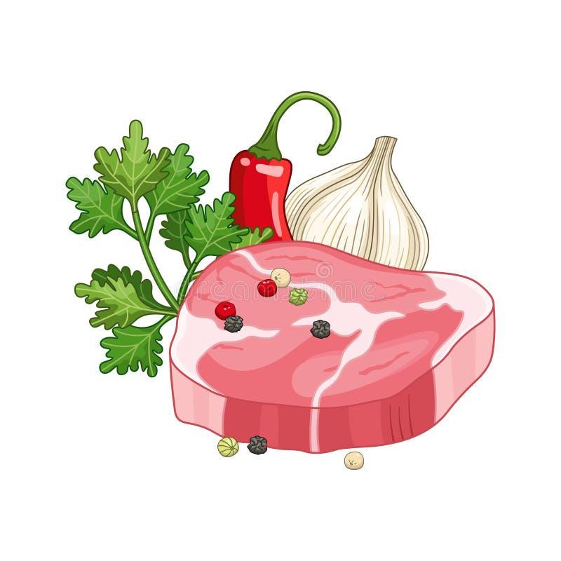 Illustration de vecteur de plat de bifteck de viande avec des épices illustration libre de droits