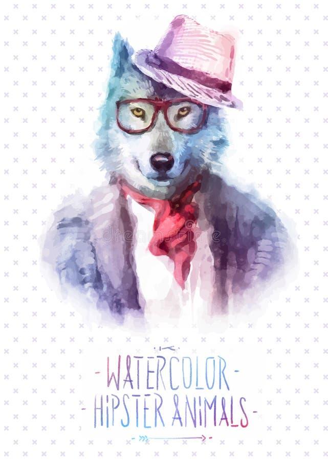 Illustration de vecteur de portrait de loup dans des lunettes de soleil illustration de vecteur