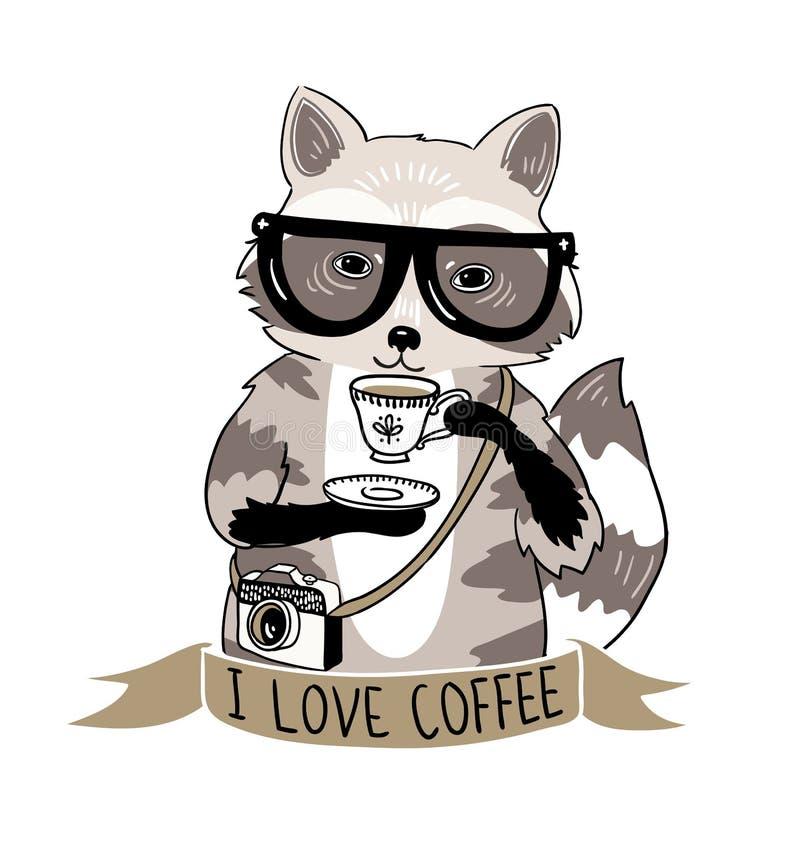 Illustration de vecteur de raton laveur de hippie Raton laveur avec du café et des verres illustration de vecteur