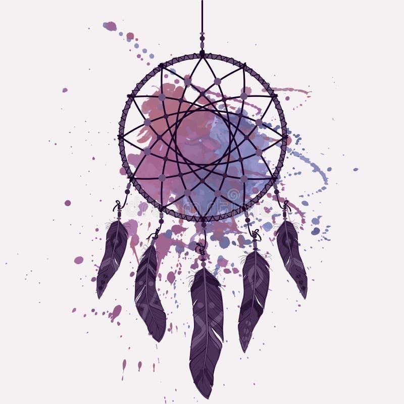 Illustration de vecteur de receveur rêveur avec l'éclaboussure d'aquarelle illustration stock