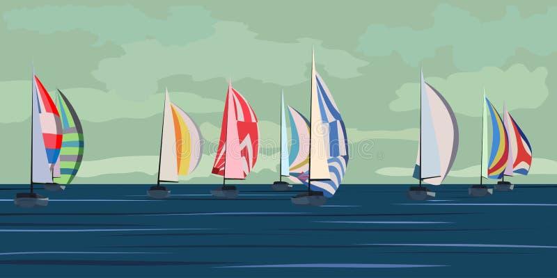 Illustration de vecteur de regatta de yacht de navigation. illustration de vecteur