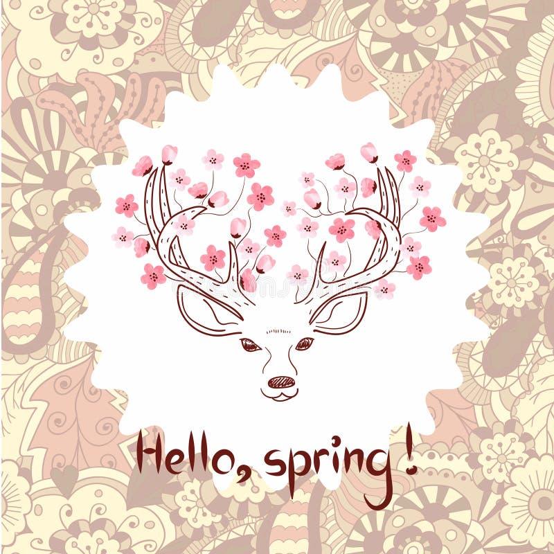 Illustration de vecteur de ressort Beaux cerfs communs avec des fleurs d'aquarelle illustration stock