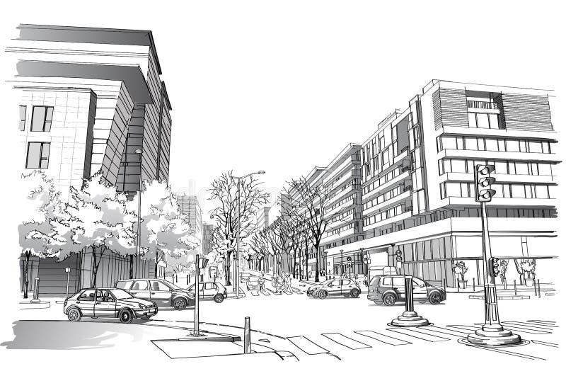 Illustration de vecteur de rue à Paris illustration libre de droits