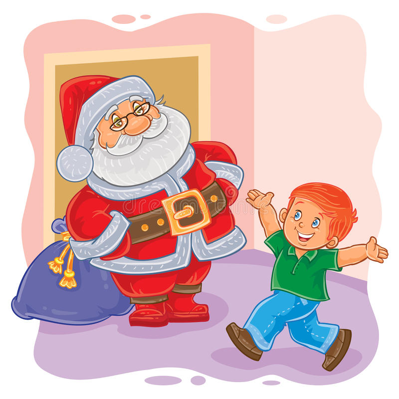 Illustration de vecteur de Santa Claus et de petit garçon illustration libre de droits