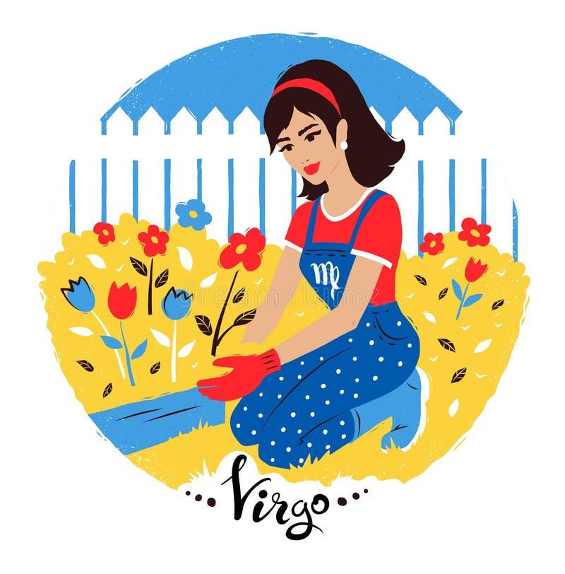 Illustration de vecteur de signe de zodiaque de Vierge illustration stock