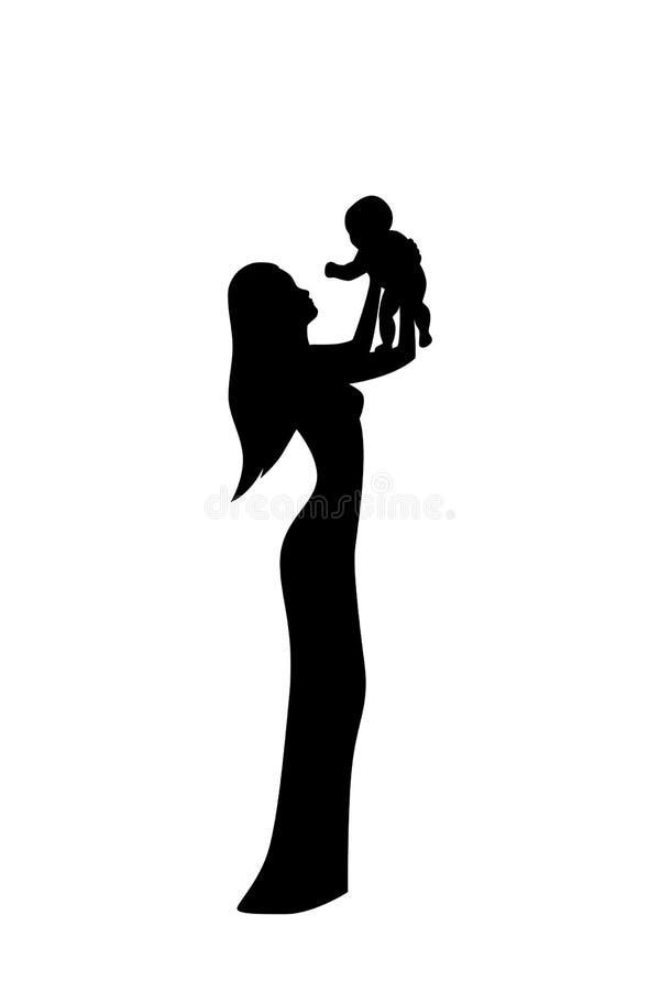 Illustration de vecteur de silhouette de personnes La mère gardent son enfant sur ses mains illustration libre de droits