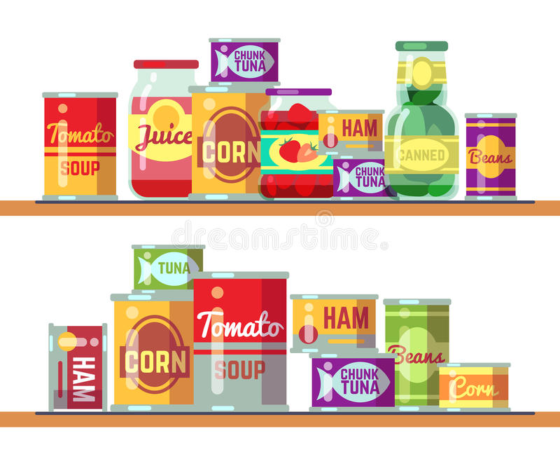 Illustration de vecteur de soupe rouge à tomate et de nourriture en boîte illustration stock
