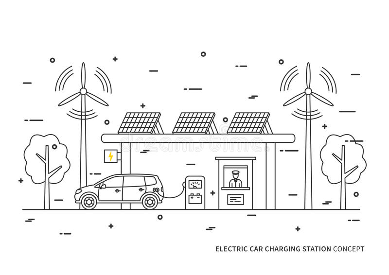 Illustration de vecteur de station de charge de voiture électrique illustration libre de droits