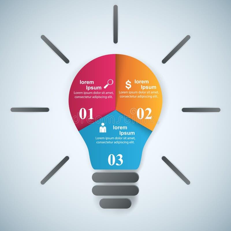 Illustration de vecteur de style d'origami d'Infographics d'affaires Ampoule IC illustration stock