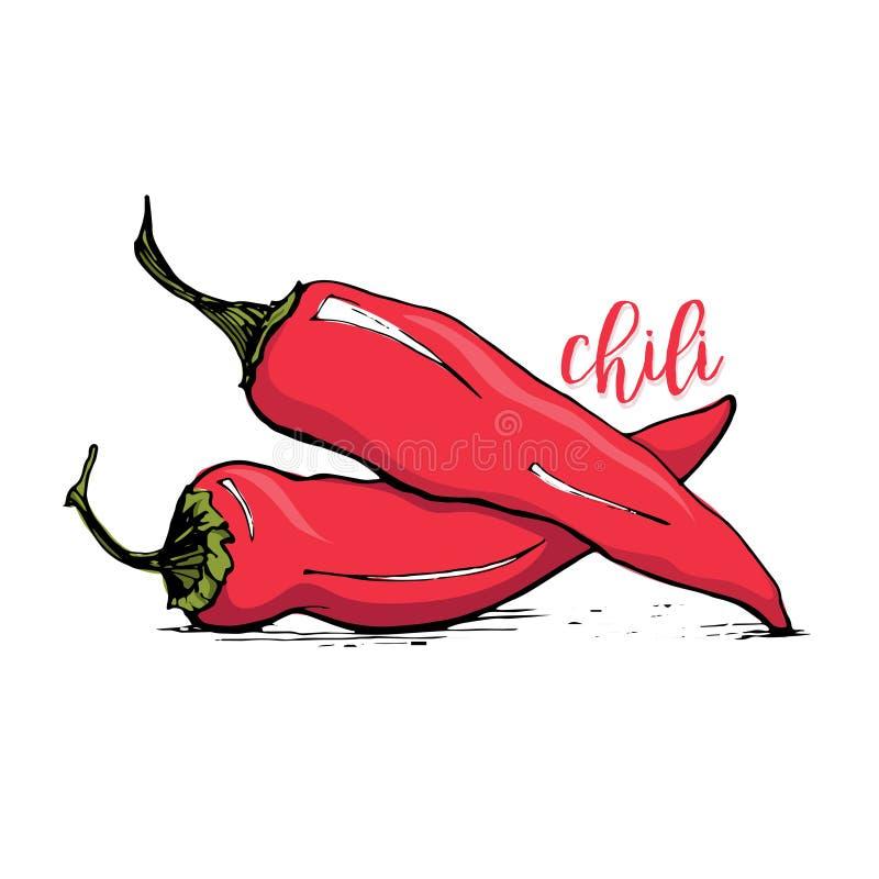 Illustration de vecteur de style de croquis de poivre de piment rouge illustration stock