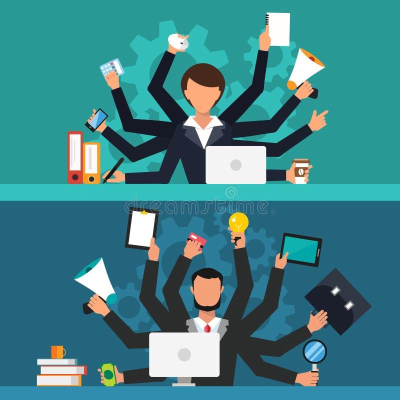 Illustration de vecteur de travail de stress du travail de bureau illustration libre de droits