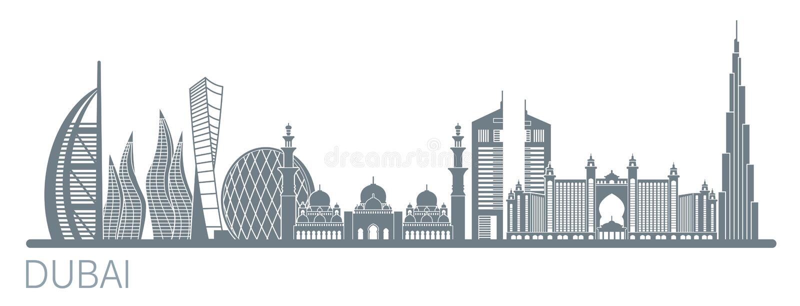 Illustration de vecteur de ville de Dubaï Vecteur courant illustration stock