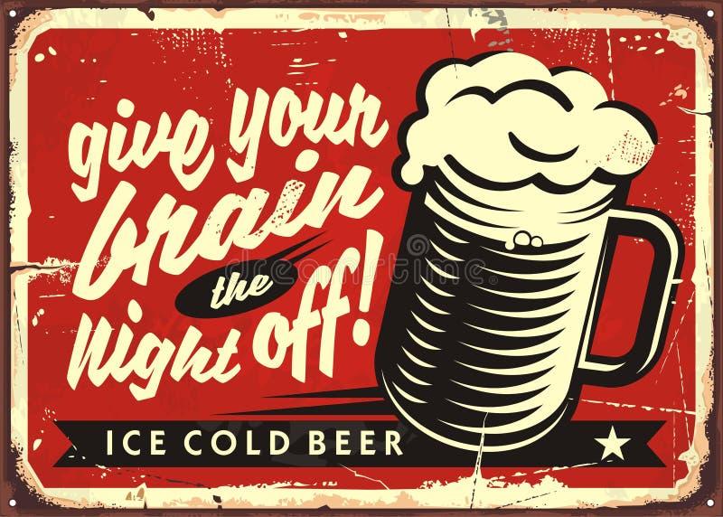 Illustration de vecteur de vintage avec le verre de bière sur le fond rouge illustration stock