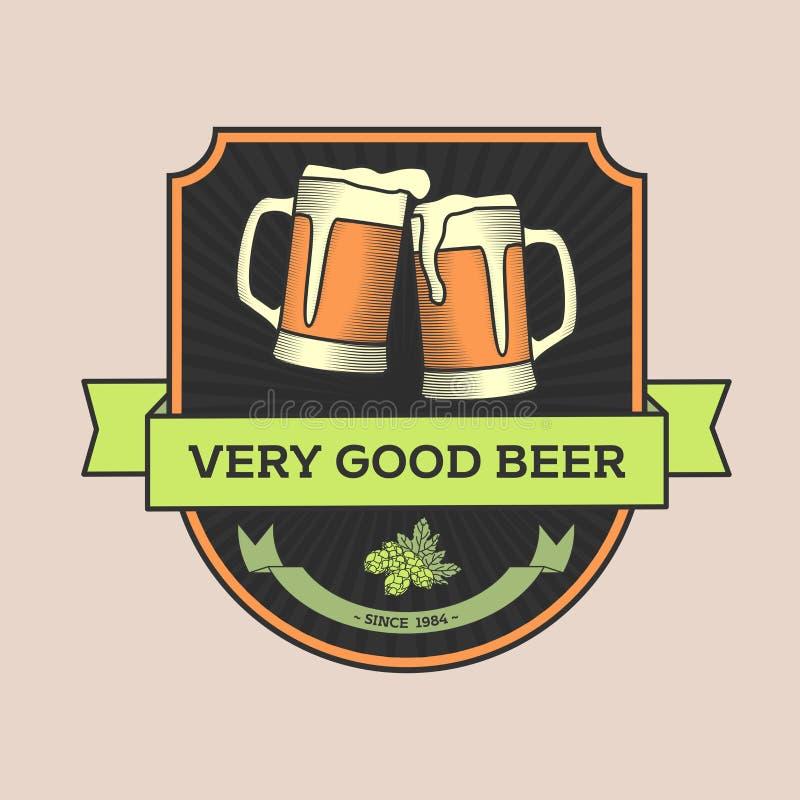 Illustration de vecteur de vintage, concept ou bar de logo, bière illustration de vecteur