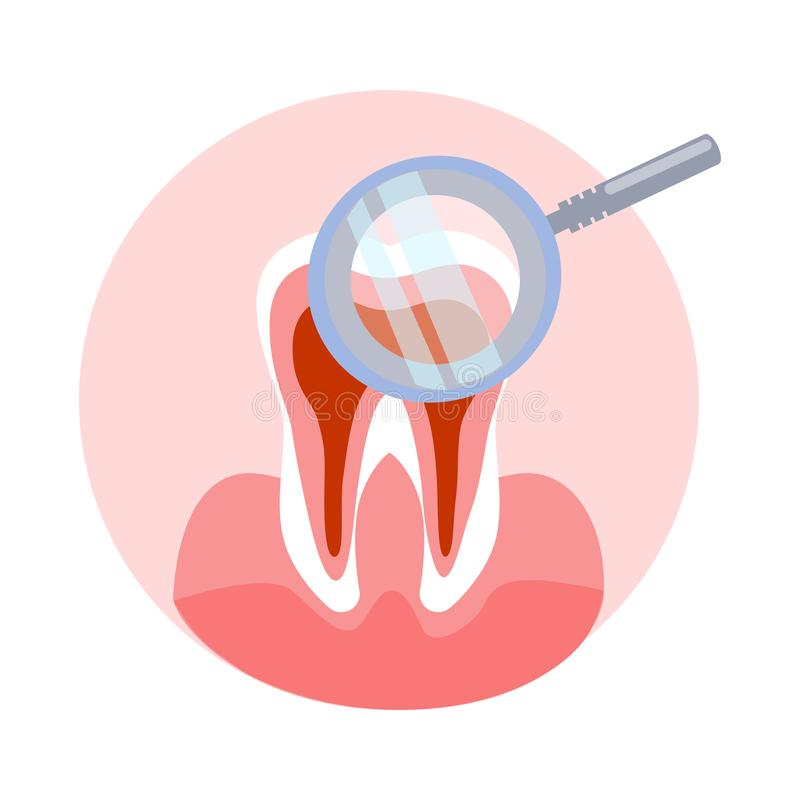 Illustration de vecteur de dent et de loupe illustration de vecteur