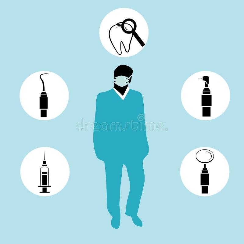 Illustration de vecteur de dentiste et d'équipement de stomatologie illustration de vecteur