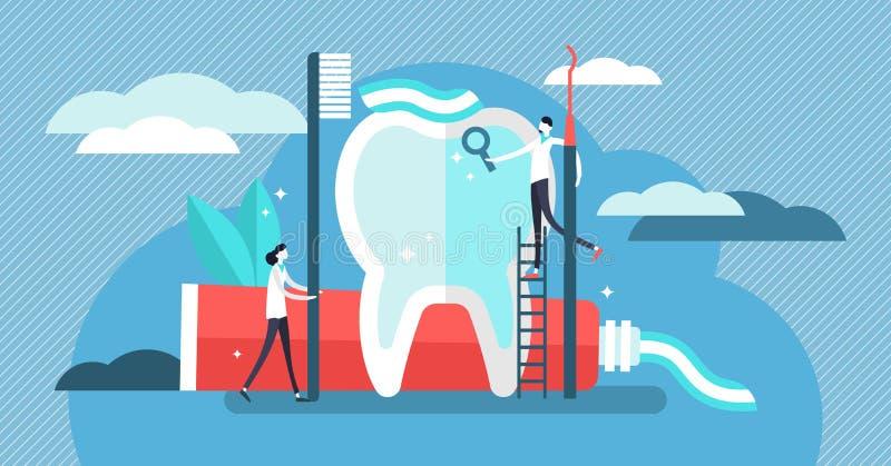 Illustration de vecteur de dentiste Mini personnes avec le concept plat d'outil de pâte dentifrice illustration de vecteur