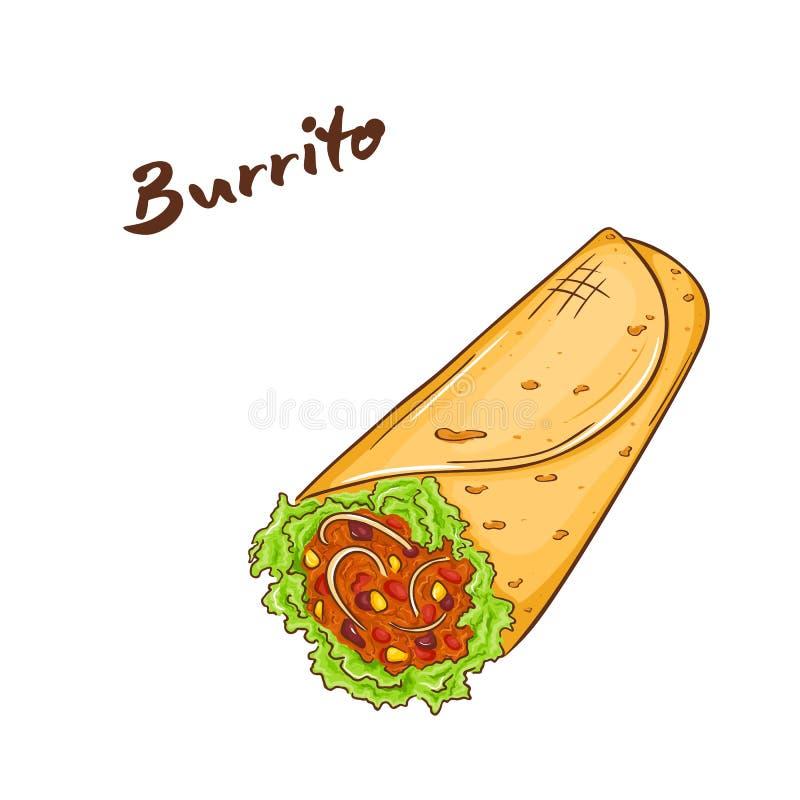 Illustration de vecteur des aliments de préparation rapide tirés par la main de bande dessinée burrito illustration de vecteur