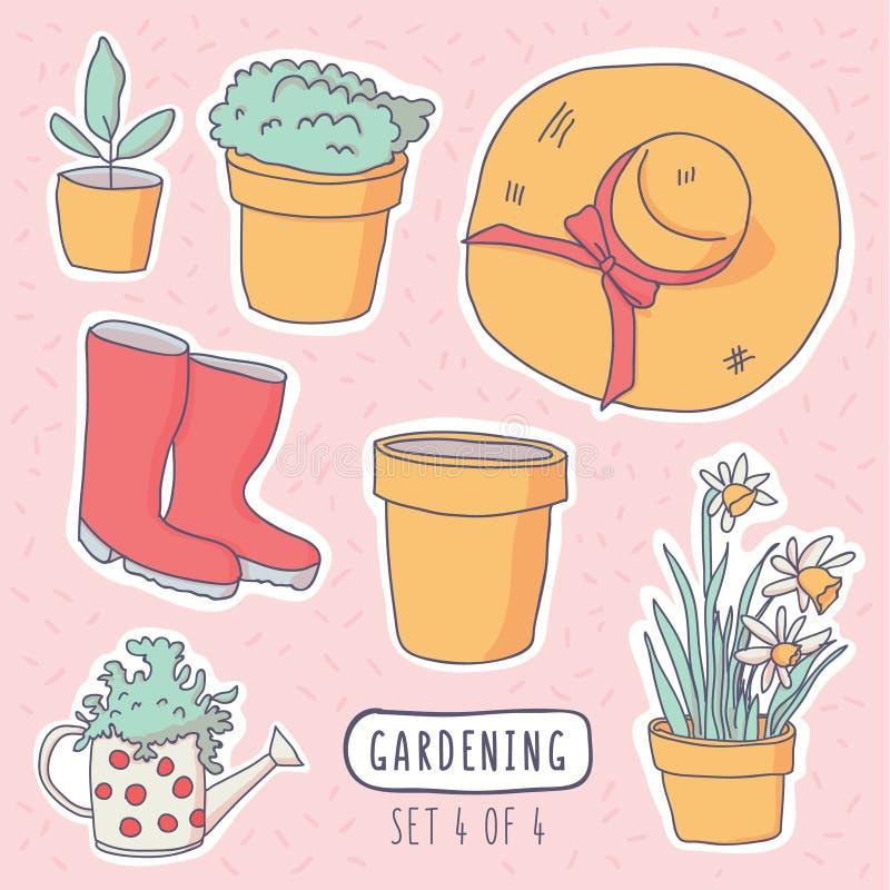 Illustration de vecteur des autocollants de jardinage d'éléments illustration de vecteur