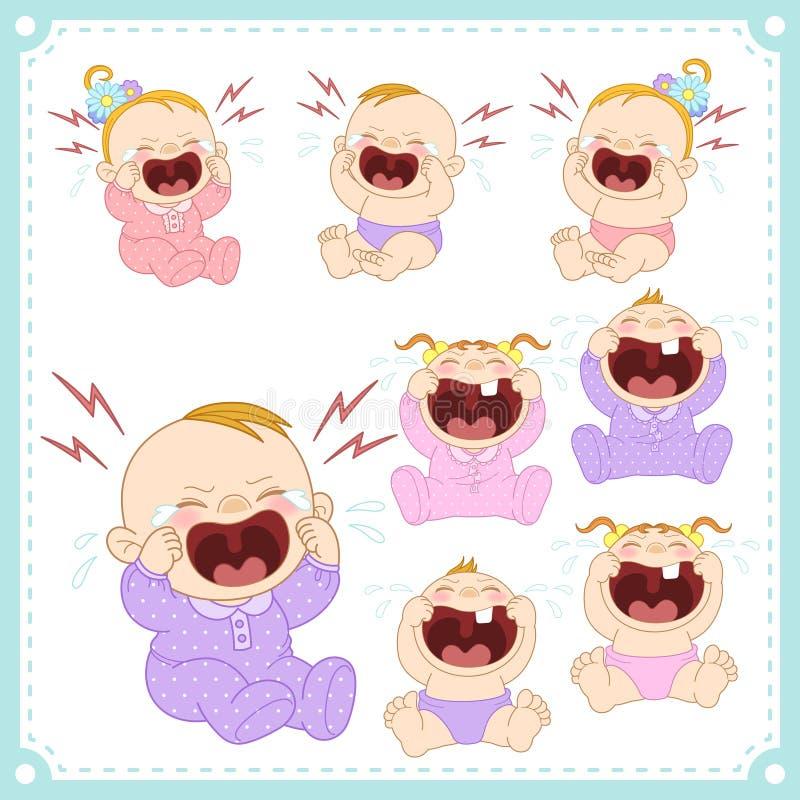 Illustration de vecteur des bébés garçon et des bébés illustration stock