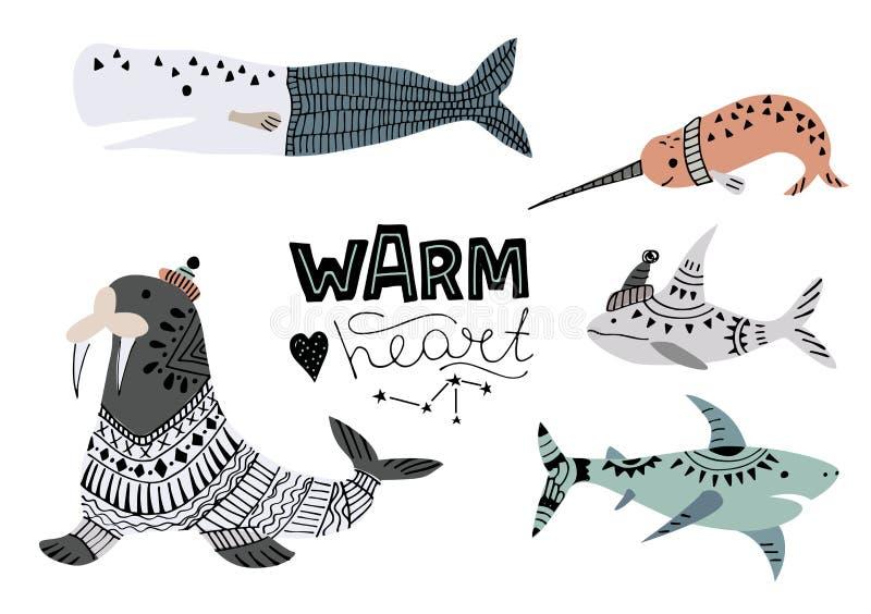 Illustration de vecteur des baleines, des poissons tels que le narval, de la baleine bleue, du pingouin, du beluga, de la baleine illustration libre de droits