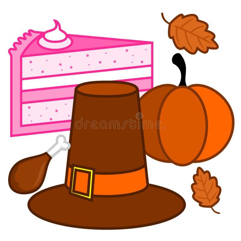 Illustration de vecteur des bibelots de jour de thanksgivings photos stock