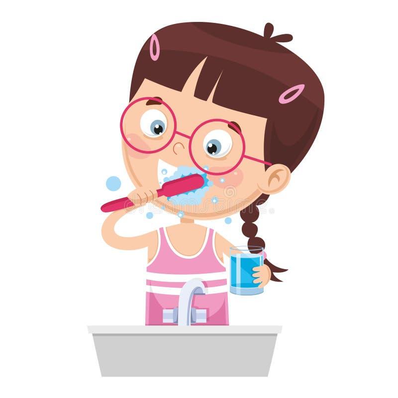 Illustration de vecteur des dents de brossage d'enfant illustration de vecteur
