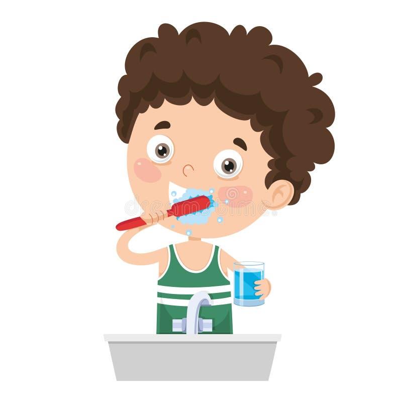 Illustration de vecteur des dents de brossage d'enfant illustration libre de droits