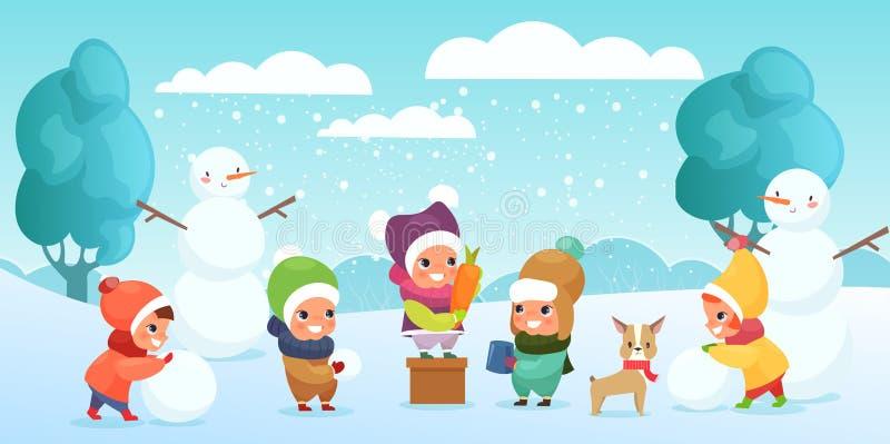 Illustration de vecteur des enfants heureux jouant dans la neige, faisant le bonhomme de neige et jouant avec le chien Enfants co illustration libre de droits