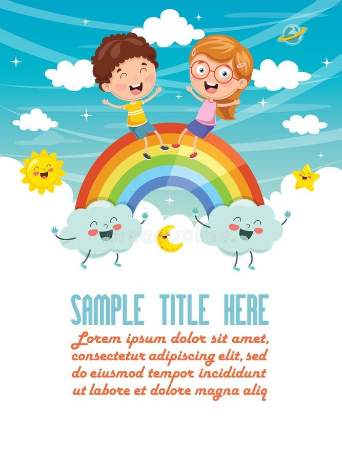 Illustration de vecteur des enfants s'asseyant sur l'arc-en-ciel illustration de vecteur