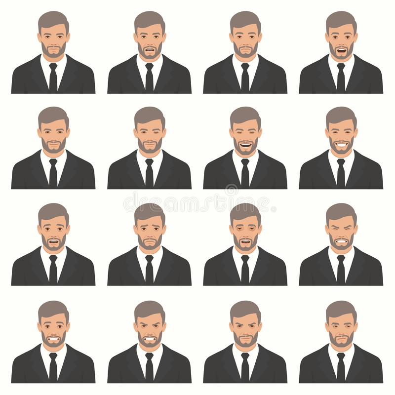 Illustration de vecteur des expressions d'un visage illustration libre de droits