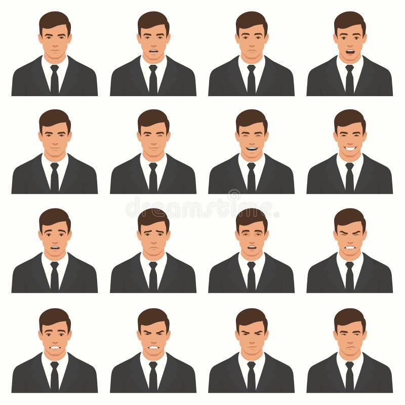 Illustration de vecteur des expressions d'un visage illustration libre de droits