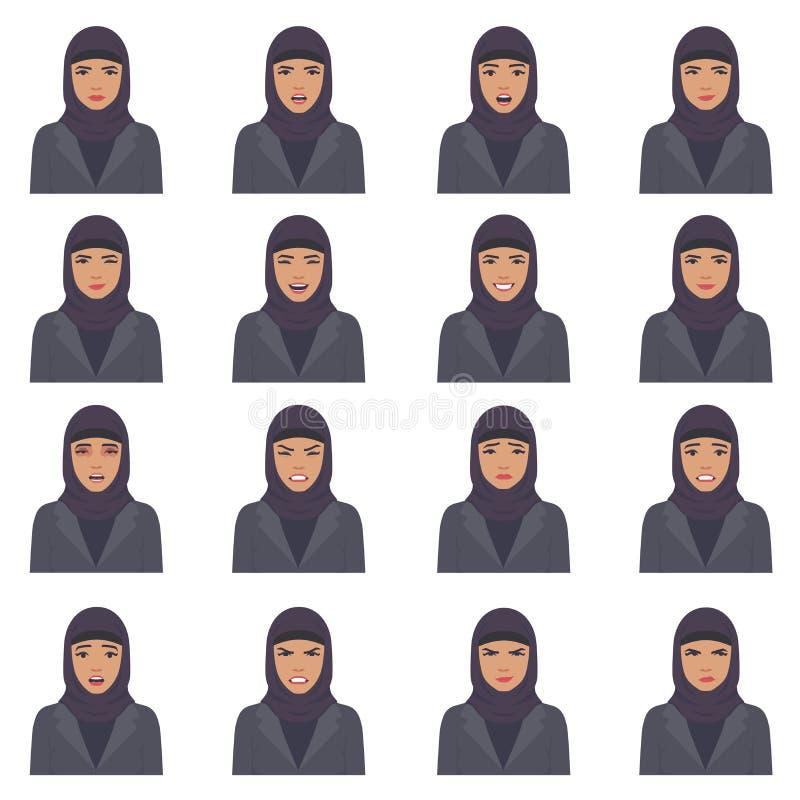 Illustration de vecteur des expressions d'un visage de l'arabe illustration de vecteur