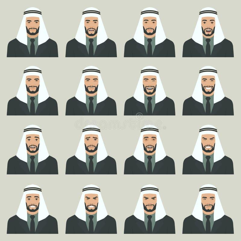 Illustration de vecteur des expressions d'un visage de l'arabe illustration libre de droits