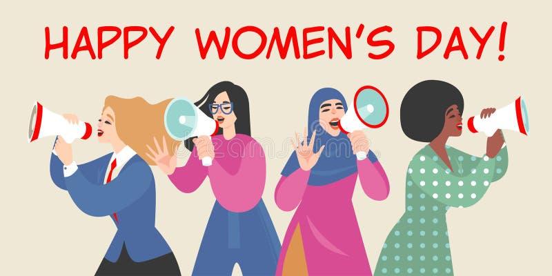 Illustration de vecteur des filles de style de bande dessinée parlant par le mégaphone et félicitant le jour des femmes internati illustration de vecteur