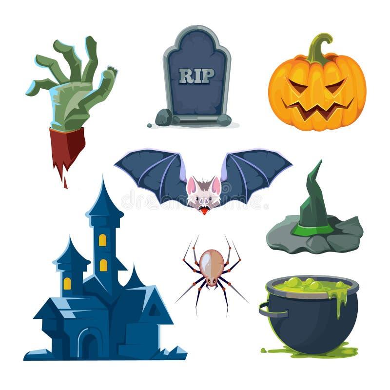 Illustration de vecteur des icônes de Halloween réglées illustration libre de droits