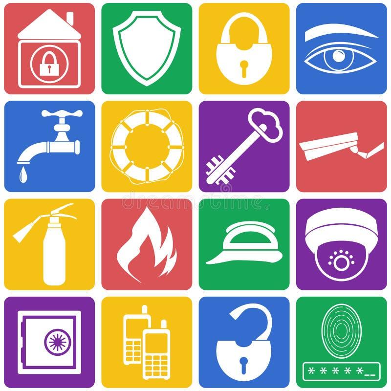 Illustration de vecteur des icônes de sécurité à la maison Ensemble plat photographie stock
