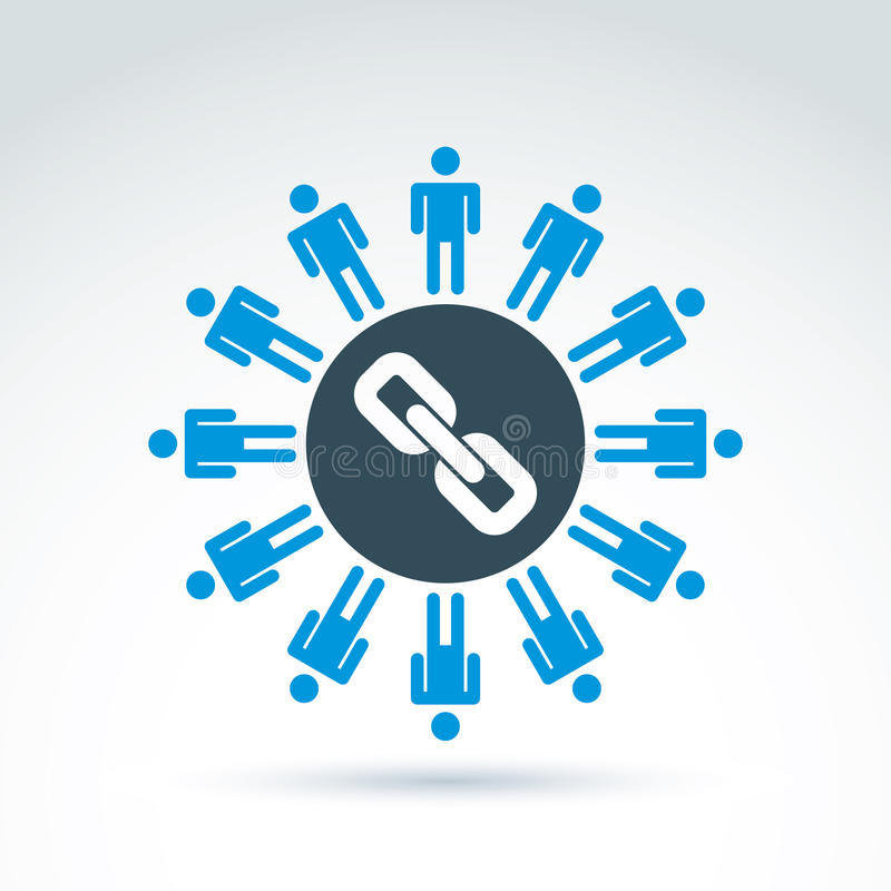 Illustration de vecteur des liens sociaux Silhouettes de support de personnes illustration de vecteur