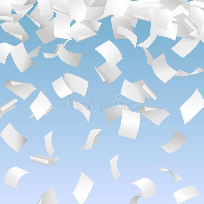 Illustration de vecteur des livres blancs 3d en baisse - écritures, documents, publicité, concept de bureaucratie illustration libre de droits