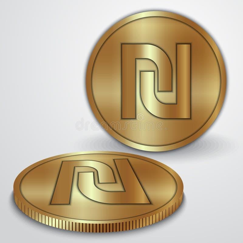 Illustration de vecteur des pièces d'or avec l'Israélien illustration stock