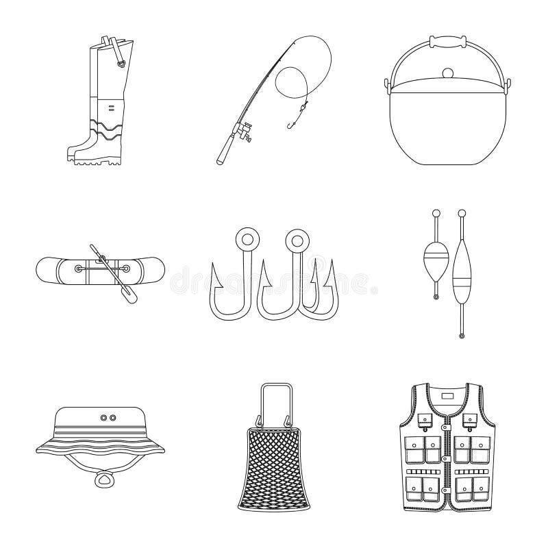 Illustration de vecteur des poissons et du logo de pêche Collection d'icône de vecteur de poissons et d'équipement pour des actio illustration de vecteur