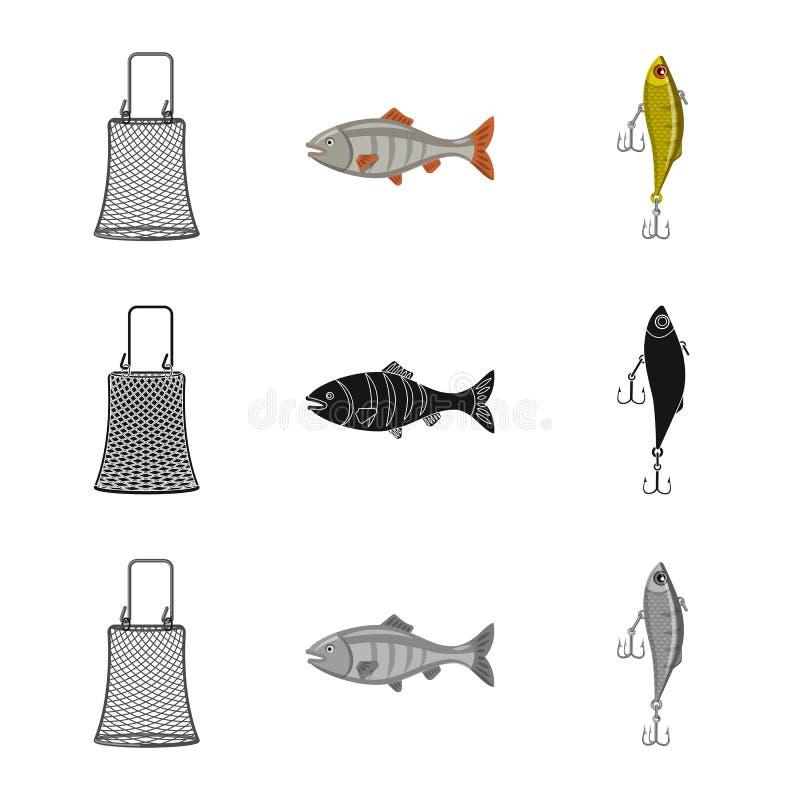 Illustration de vecteur des poissons et du symbole de pêche Ensemble d'illustration courante de vecteur de poissons et d'équipeme illustration libre de droits