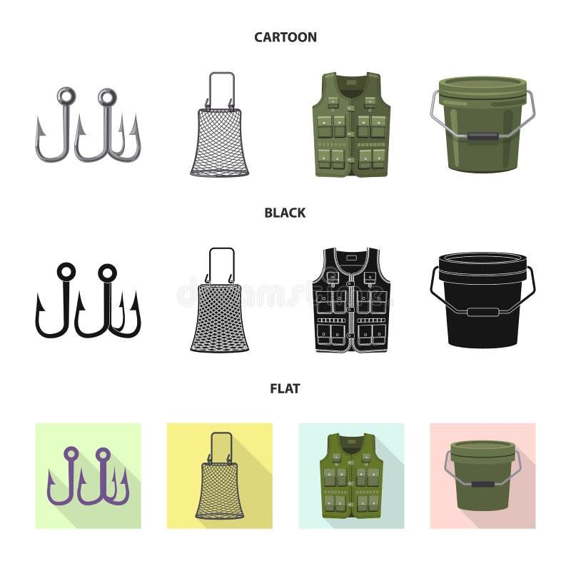 Illustration de vecteur des poissons et de l'icône de pêche Collection d'icône de vecteur de poissons et d'équipement pour des ac illustration libre de droits